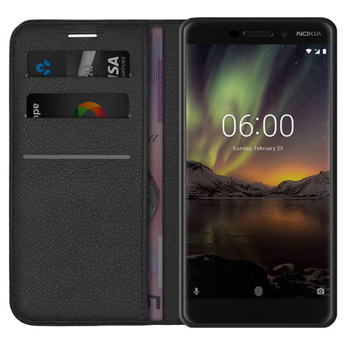 Leather Wallet Case & Card Holder Pouch for Nokia 6.1 (2018) - Black